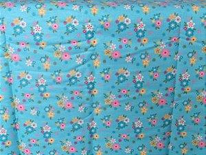 Tecido para Patchwork Floral Pequeno fd. Verde Turquesa (0,50m x 1,50m)