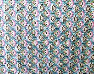 Tecido para Patchwork Floral Pequeno fd Azul Claro (0,50m x 1,50m)
