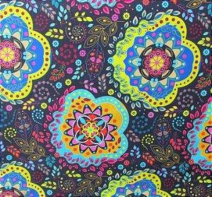 Tecido para Patchwork Estampa Digital Mandala fd. Preto (0,50m x 1,40m)