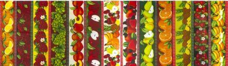 Tecido para Patchwork Frutaria Faixas (0,50m x 1,50m)