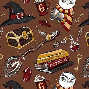 Tecido para Patchwork Harry Potter Marrom (0,50m x 1,50m)