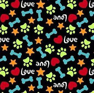Tecido para Patchwork Patinhas Love fd. Preto (0,50m x 1,50m)