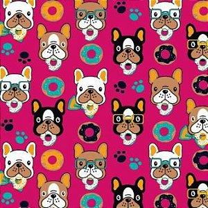 Tecido para Patchwork Cachorro Donuts fd. Pink (0,50m x 1,50m)