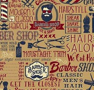 Tecido para Patchwork Digital Barbearia Hipster (0,50m x 1,50m)
