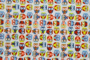 Tecido para Patchwork Mini Corujas Azul (0,50m x 1,50m)
