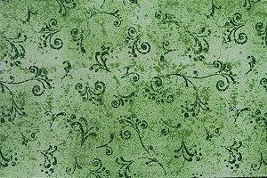 Tecido para Patchwork Arabesco Verde Oliva (0,50m x 1,50m)