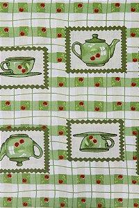 Tecido para Patchwork Xícaras Verde (0,50m x 1,50m)