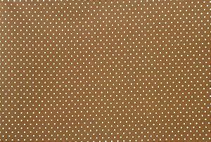 Tecido para Patchwork Poá Verde fd. Marrom (0,50m x 1,50m)
