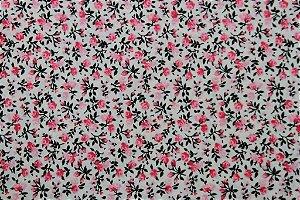 Tecido para Patchwork Floral Miúdo Rosa fd. Palha (0,50m x 1,50m)