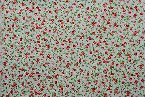 Tecido para Patchwork Floral Miúdo Vermelho fd. Palha (0,50m x 1,50m)