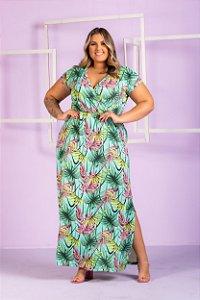 Vestido Liza Estampado Verde Plus Size