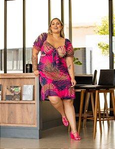 Vestido Estampado Pietra Pink Plus Size