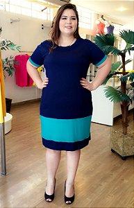 Vestido Curto Plus Size Azul e Verde