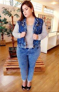 Jaqueta Jeans com Moletom Plus Size