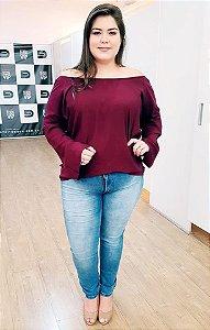 Blusa Ombro a Ombro Marsala Plus Size