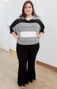 Blusa de Malha em Listras Black