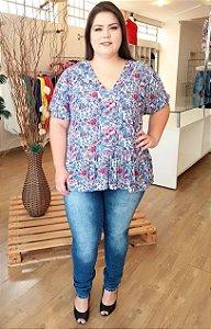 Blusa Floral de Malha Decote V
