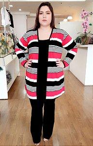 Cardigan de Listras Gênova Plus Size