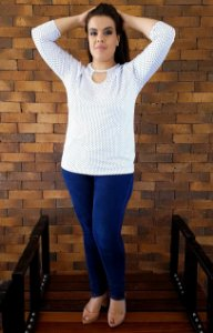 Blusa Branca de Poá Milan Plus Size