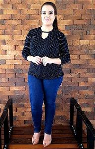 Blusa Preta de Poá Milan Plus Size