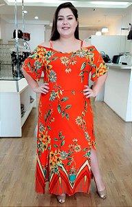 Vestido Longo de Alcinha com Fenda Veneza - Orange