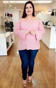 Blusa Ombro a Ombro Rosê Plus Size
