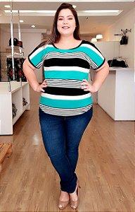 Blusa de Listras Green Plus Size
