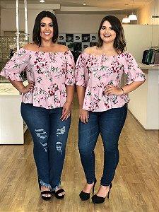 Blusa Floral Labella Estampa Rosê
