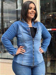 Jaqueta Jeans com Zíper