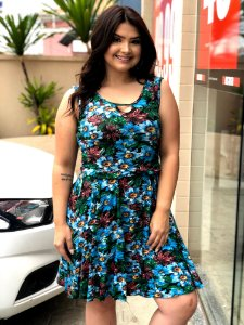 Vestido Estampa Floral Blue Plus Size