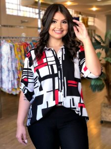 Camisa Geométrica Sweet Red Plus Size