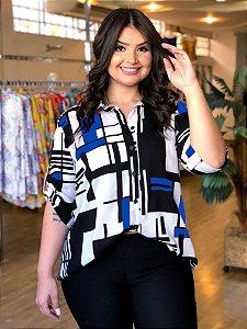 Camisa Geométrica Sweet Blue Plus Size