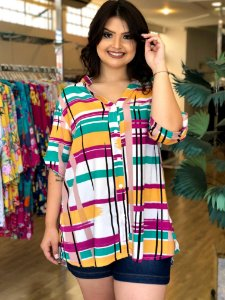 Camisa Geométrica Sweet Color Plus Size