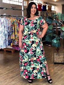 Vestido Longo Casual Floral Plus Size