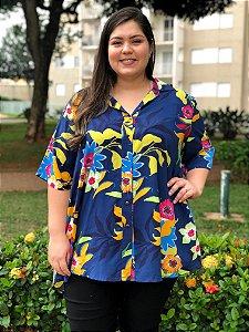 Camisa Floral Blue Plus Size