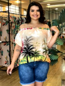 Blusa Ombro a Ombro Tropical Paris Plus Size