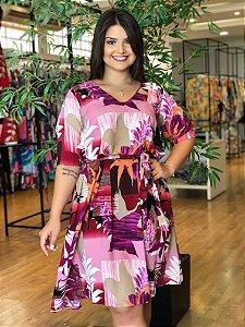 Vestido Luxo Estampado Plus Size