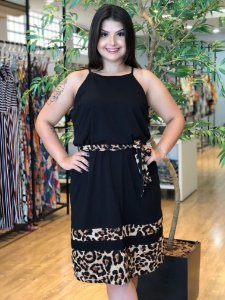 Vestido Glamour Animal Print Plus Size