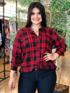Camisa Red Xadrez Plus Size