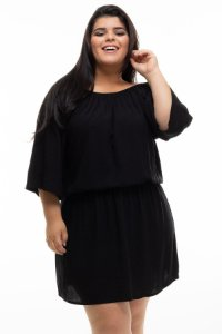 Vestido Solid Black Plus Size