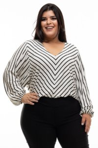 Blusa de Listras Yes Plus Size