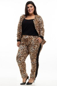 Jaqueta Pocket Animal Print Plus Size