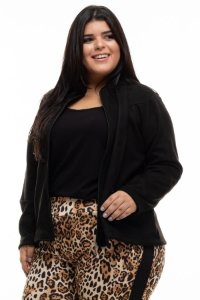 Jaqueta Black Zipper Plus Size