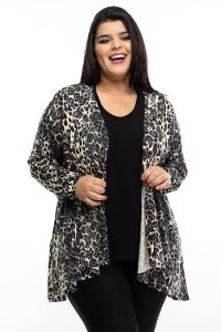 Cardigan Animal Print Black White