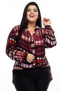 Camisa Helene Geométrica Plus Size