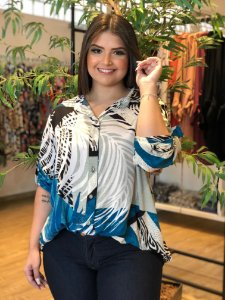 Camisa Sweet Blue Plus Size