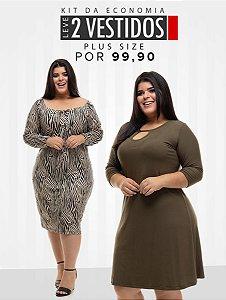 Combo Promocional Leve 2 Vestidos Plus Size (Economize R$ 100,00)