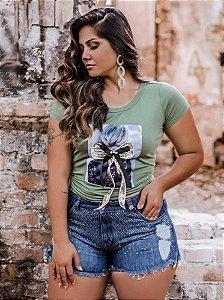 Blusa T-Shirt com Lacinho frontal Curta Size