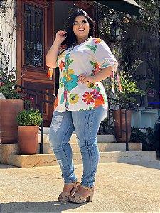 Calça jeans com Vinco Plus Size