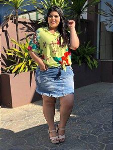 Blusa Floral Modele Plus Size